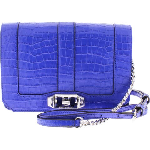Rebecca Minkoff Womens Small Love Crossbody Handbag Leather Embossed - Bright Blue