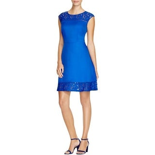 Finity Womens Casual Dress Woven Lace Inset