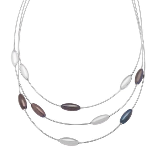 Multi-Layered Station Necklace in Sterling Silver - White