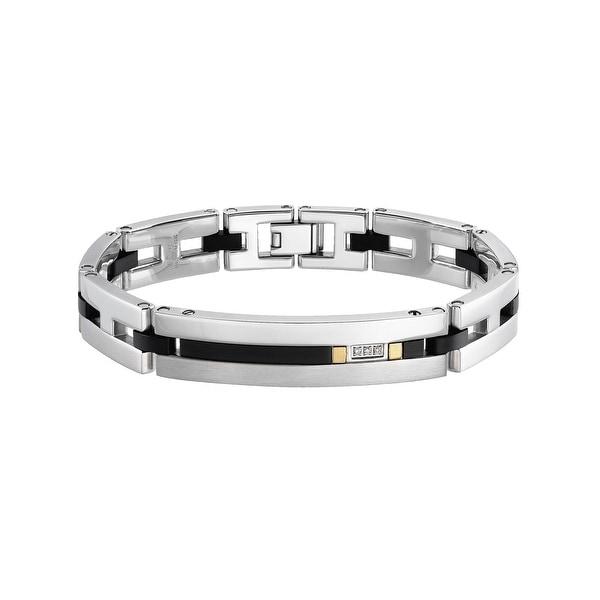 Dolan Bullock Men's Bracelet with Onyx & Diamonds in Stainless Steel & 18K Gold
