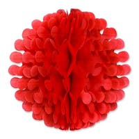 """Club Pack of 12 Red Tissue Flutter Ball Hanging Decorations 9"""""""