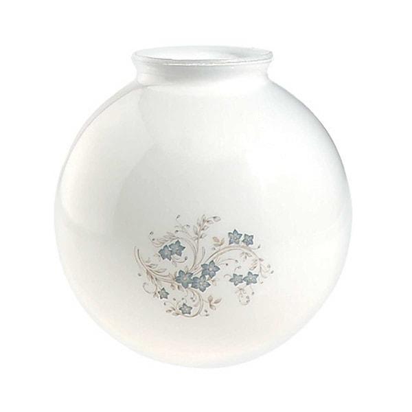 Glass Lamp Shade White/Blue Globe 8.25H x 4 Fitter | Renovator's Supply