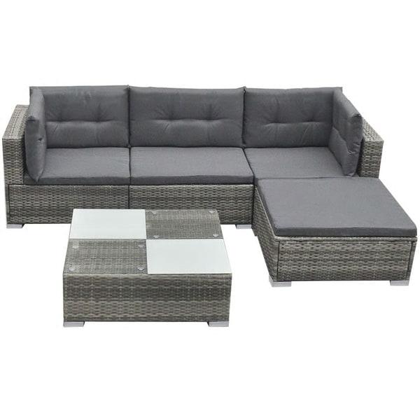 3d3211044fe7 Shop vidaXL Garden Sofa Set 14 Piece Wicker Patio Outdoor Lounging ...