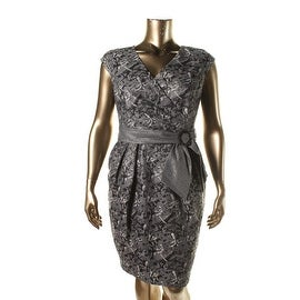 Alex Evenings Womens Metallic Lined Cocktail Dress - 16
