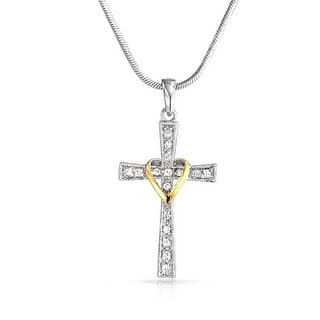Pave CZ Heart Cross Pendant Rhodium and Gold Plated Necklace 16 Inches