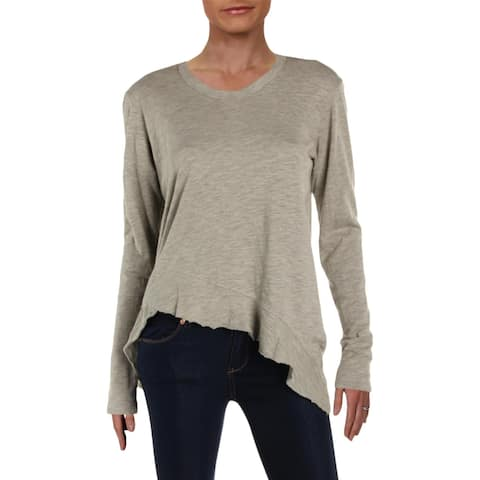 Wilt Womens Pullover Top Heathered Ruffled