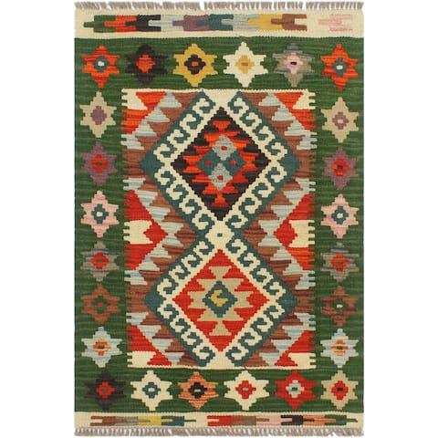 """Tribal Turkish Kilim Hiedi Hand-Woven Area Rug - 2'0"""" x 2'11"""""""