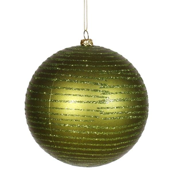 "Olive Green Glitter Striped Shatterproof Christmas Ball Ornament 4.75"" (120mm)"