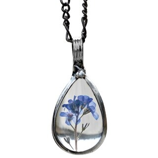 BayouGlassArts Women's Forget-Me-Not Pendant Necklace- Real Blue Flower in Glass