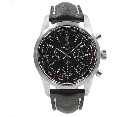 Breitling Men's AB0510U6-BC26-441X 'Transocean Chronograph Unitime Pilot' Chronograph Black Leather Watch