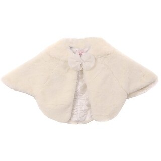 Beautiful Poncho Cape Winter Fur Coat Jacket Ivory CC3012
