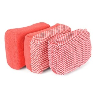 """Set of 3 Coral Pink and White Net Patterned Rectangular Sponges 4.5"""""""
