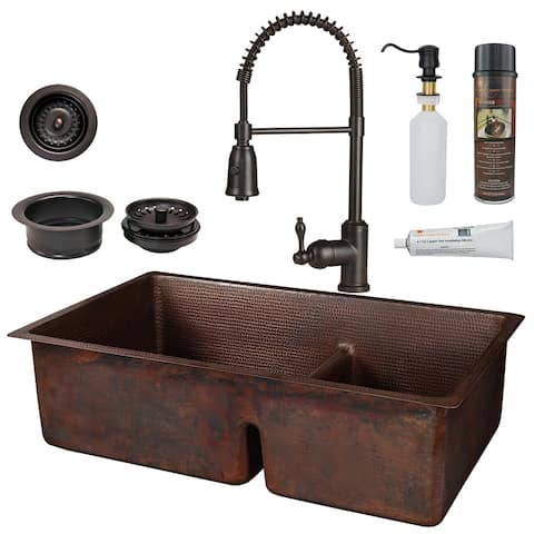 Premier Copper Products KSP4_K60DB33229-SD5 Kitchen Sink, Spring Faucet and Accessories Package