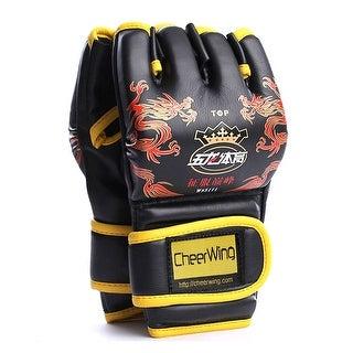 PU Leather MMA UFC Half Finger Boxing Gloves Fighting Sandbag Gloves Punch Mitts Red/Black