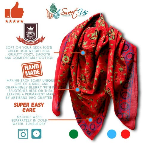 Large Cotton Scarfs for Women Lightweight Soft Sheer Neck Scarf Head Scarf Block Print Summer Floral Scarf Blue Green Red