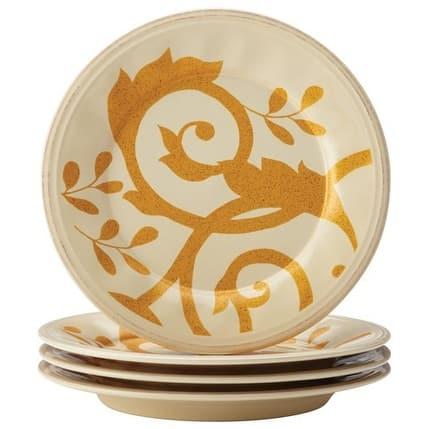 Rachael Ray Dinnerware Gold Scroll 4-Piece Salad Plate Set Almond Cream