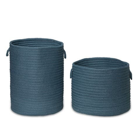 CLEAN & DIRTY Woven Hamper Basket SET-2_17Dx22H-19Dx15H