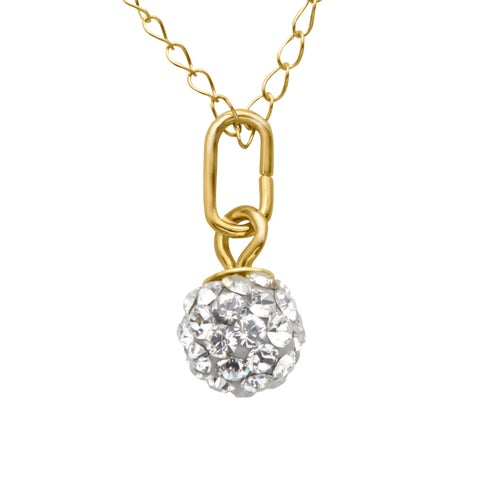 Girl's Glitter Ball Pendant with Swarovski elements Crystal in 10K Gold