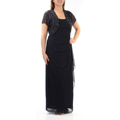 MSK Womens Navy Beaded Jewel Neck Full-Length Formal Dress Size 2XS