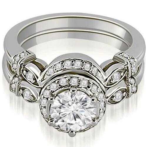 0.77 cttw. 14K White Gold Antique Round Cut Diamond Engagement Set