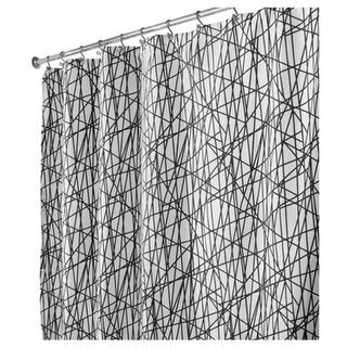 "InterDesign 36920 Abstract Fabric Shower Curtain, 72"" x 72"", Black & White"