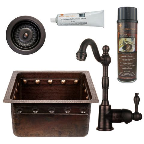 Premier Copper Products BSP4_BREC16DBBS-D Bar Sink, Faucet and Strainer Drain Package
