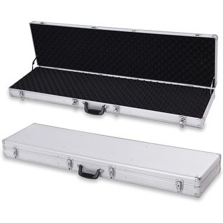 Costway 54''Long Aluminum Locking Rifle Gun Case Lock Shotgun Storage Box Carry Silver