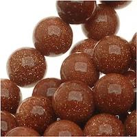 Goldstone 6mm Round Beads /15.5 Inch Strand