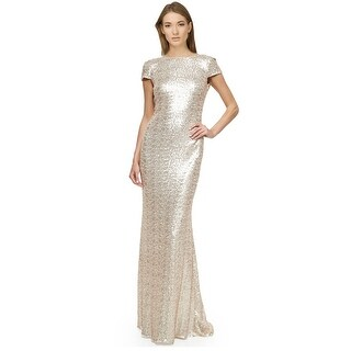 Badgley Mischka Cap Sleeve Cowl Back Sequined Evening Gown Dress