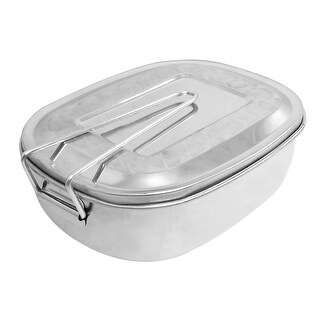 Unique Bargains Unique Bargains Silver Tone Removable Cover Handle Portable Dinner Bucket Lunch Box