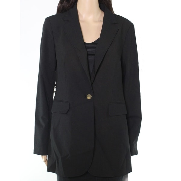 Calvin Klein Womens Jacket Black Size 8 Single Button Notched Collar. Opens flyout.