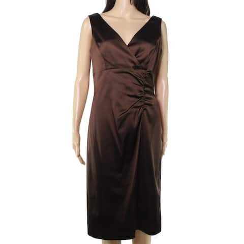 Donna Ricco Womens Dress Classic Brown Size 8 Sheath Ruched Side