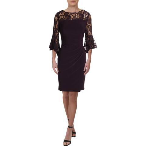 Lauren Ralph Lauren Womens Sandara Party Dress Lace Inset Bell Sleeves