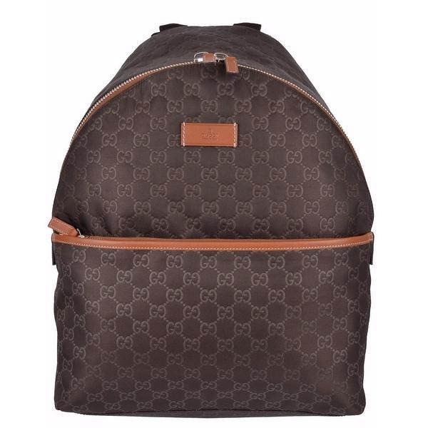 Gucci Men's 190278 Brown Nylon GG Guccissima Rucksack Backpack Purse Bag