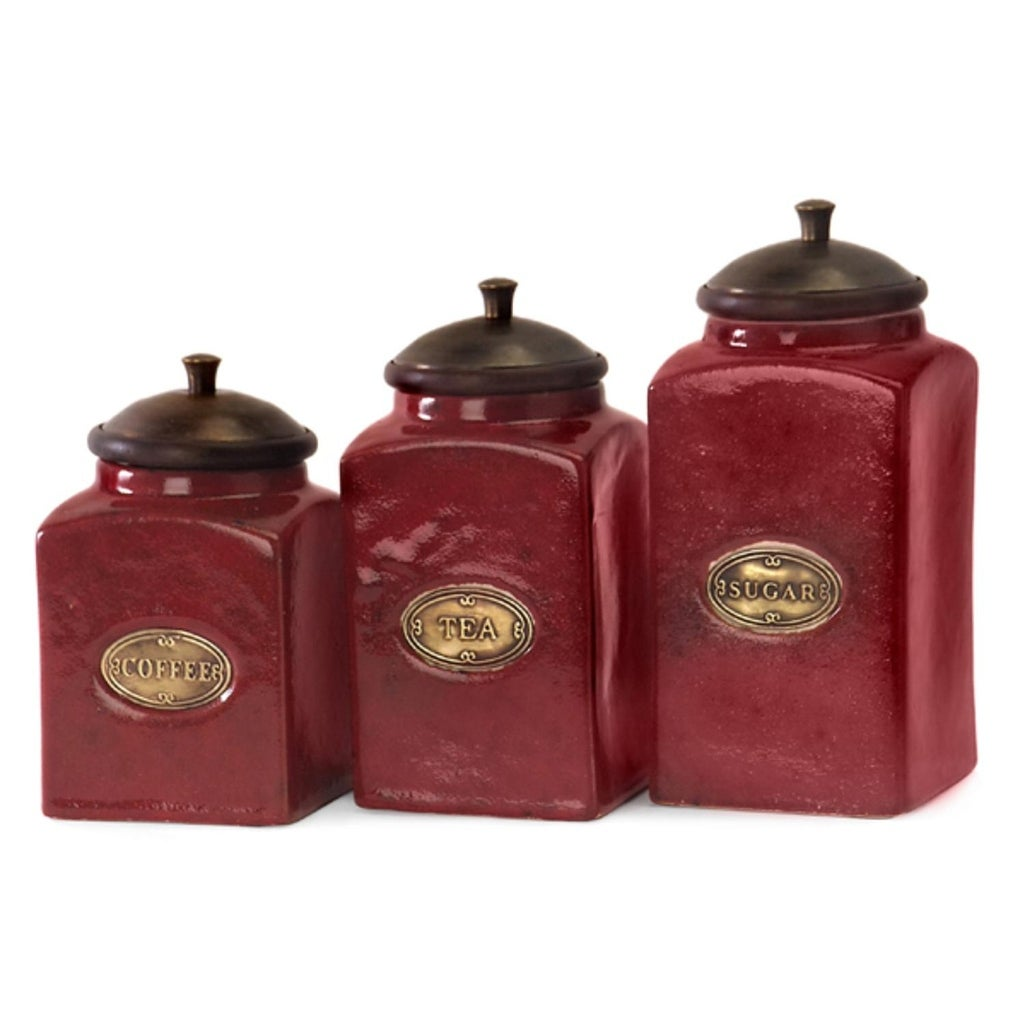 Set of 3 Rustic Red Lidded Ceramic Kitchen Canisters - N/A