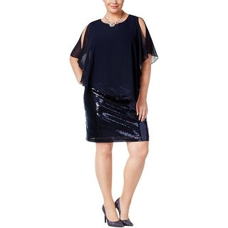 MSK Women Womens Plus Casual Dress Mixed Media Sequined