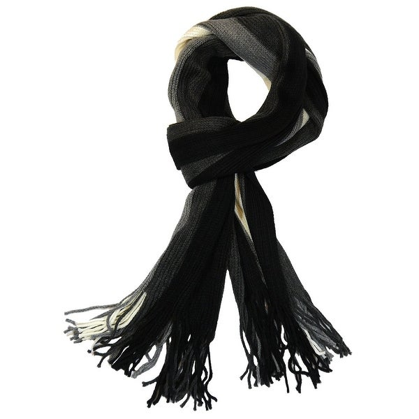 Men's 100% Fine Acrylic Striped Knit Long Stylish Scarf, Black Grey White