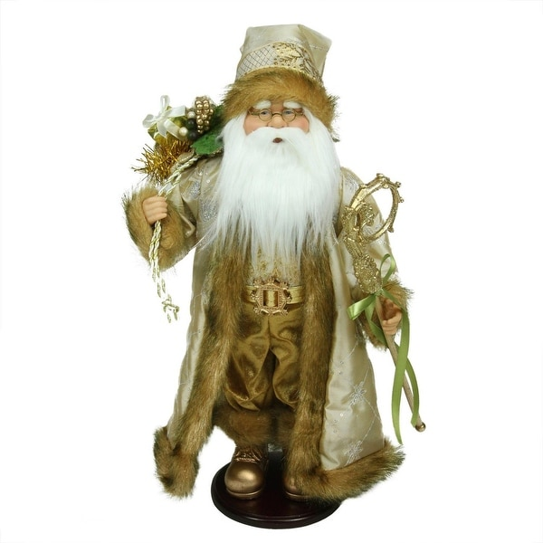 "18.25"" Winter Light Santa Claus with Jacquard Jacket Christmas Decoration - GOLD"