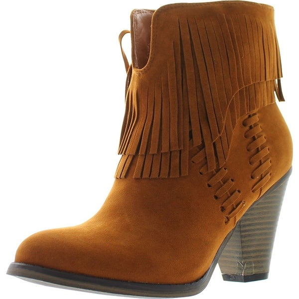 Nature Breeze Dallas-03 Women's V Slit Strap Double Fringe Stacked Heel Booties