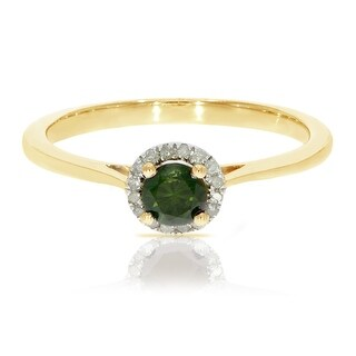 0.37 Ctw Classic Round Diamond Engagement Ring W/ 0.30 Carat Green Diamond Halo Ring