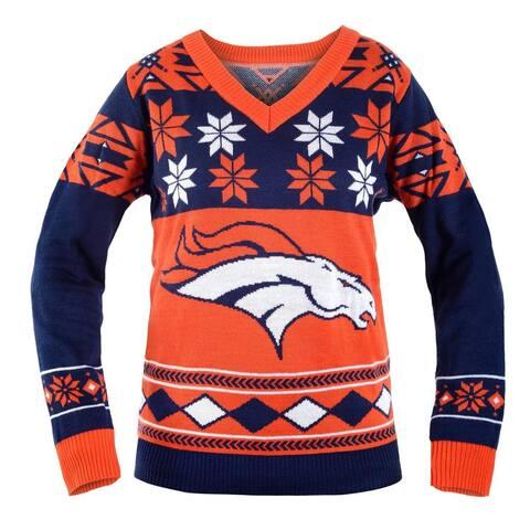 Denver Broncos NFL Women's Big Logo V-Neck Ugly Christmas Sweater - Orange