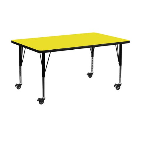 """Offex 30""""W x 72""""L Mobile Rectangular Activity Table with 1.25"""" Thick High Pressure Yellow Laminate Top and Pre-School Leg - N/A"""