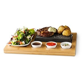 Steak Stone 7 Pcs Set- Family Size Hot Cooking Stone for Tabletop Grilling with Stainless Steel Serving Tray and Wooden Board