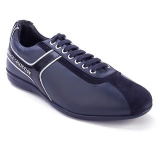 Versace Collection Men's Leather Low Top Sneaker Shoes Navy Blue Silver