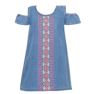 Girls Light Blue Motif Panel Cold Shoulder Vintage Denim Dress
