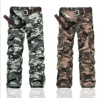 Men's Casual Cargo Pants Multi-Pocket Thick Washed Camouflage Military Work Trousers