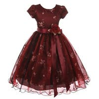 Kiki Kids Little Girls Burgundy Black Mesh Organza Flower Christmas Dress