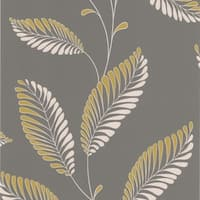 Brewster DL30464 Aubrey Grey Modern Leaf Trail Wallpaper