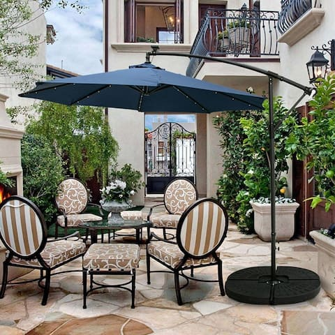 Ainfox 10ft Solar Offset Hanging Patio Umbrella without Weight Base