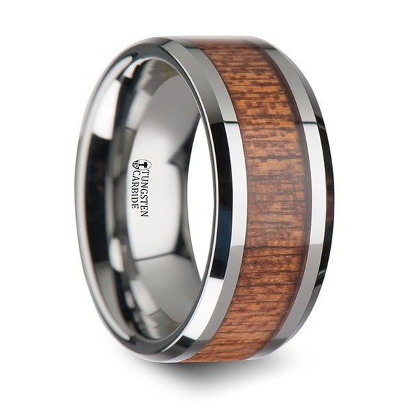 THORSTEN - CONGO Tungsten Wedding Band with Polished Bevels and African Sapele Wood Inlay - 10mm